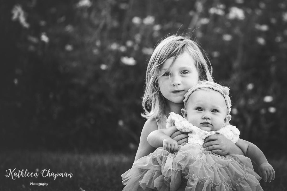 black and white sister portrait | Malone NY child photographer