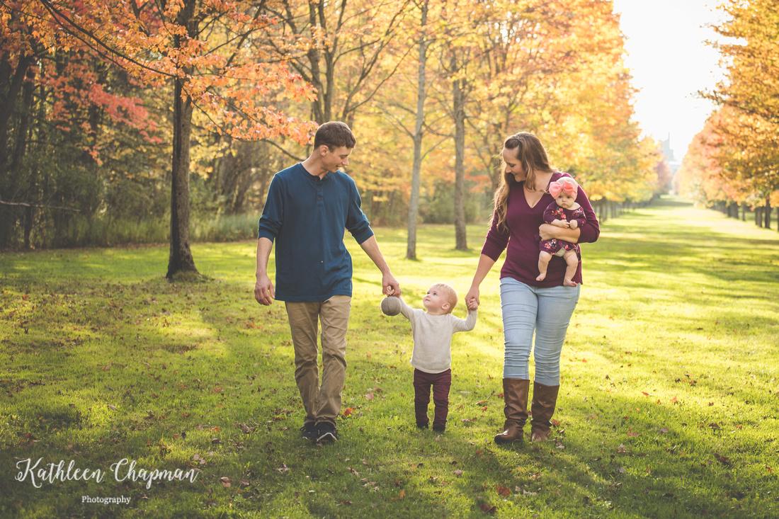 Family walking fall portrait | Canton NY family photographer