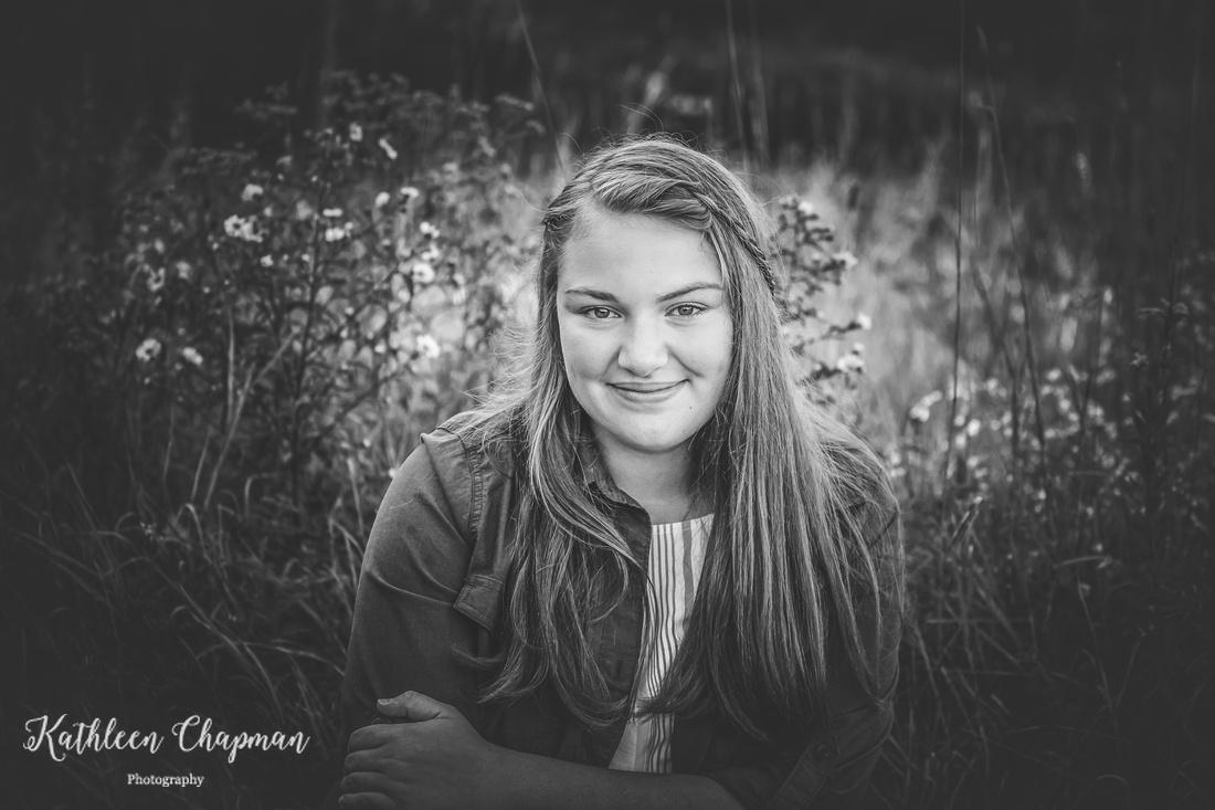 Smiling senior girl black and white portrait | Malone NY family photographer